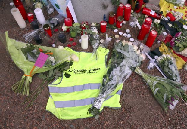 A street memorial to victims of the Zaventem airport bombings is seen in Brussels
