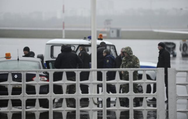 Members of operative services are seen at airport of Rostov-On-Don