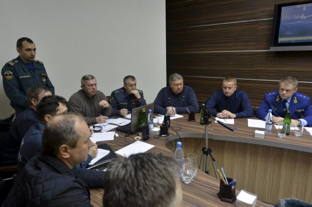 Emergency operations centre holds meeting at airport in Rostov-On-Don