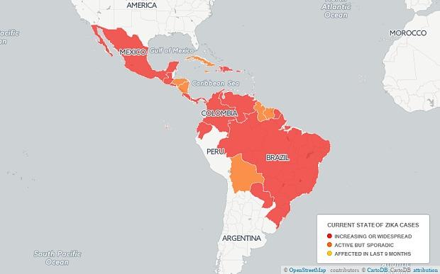 Вирус Зика зафиксирован в 33 странах