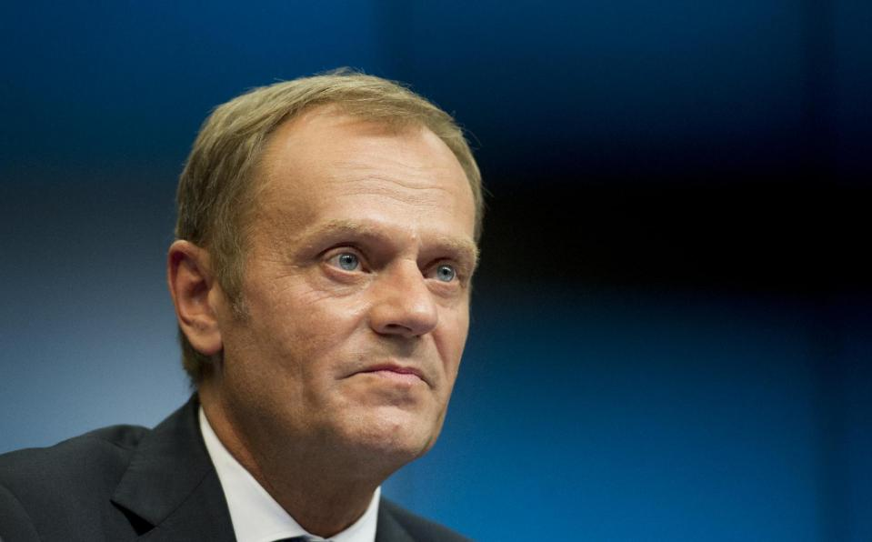 EU Council president Donald Tusk attends a press briefing at the European Union summit in Brussels on August 30, 2014 AFP Alain Jocard(3)