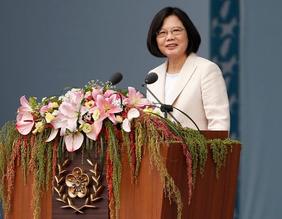 Taiwan's President Tsai Ing-wen addresses during an inauguration ceremony in Taipei