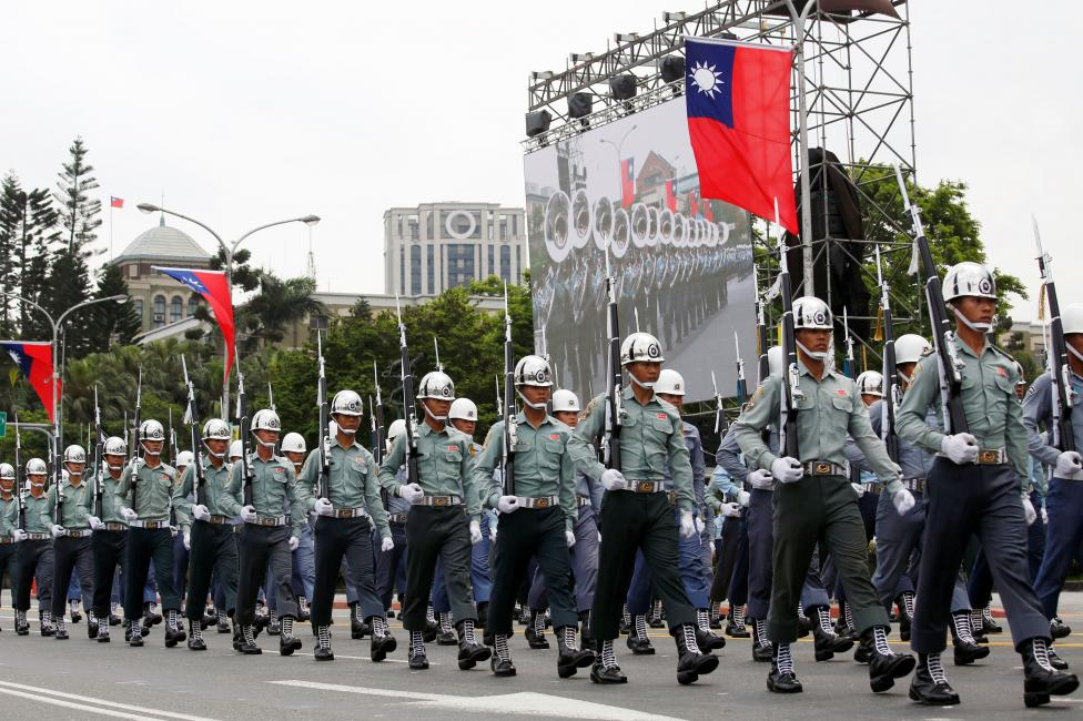 Taiwan honour guards take part in a rehearsal for the performance at the inauguration ceremony of President-elect Tsai Ing-wen, in Taipei, Taiwan