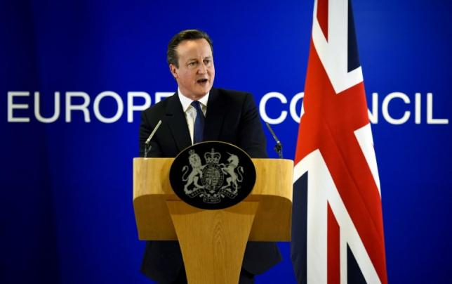 British Prime Minister David Cameron addresses the media after a European Union leaders summit in Brussels