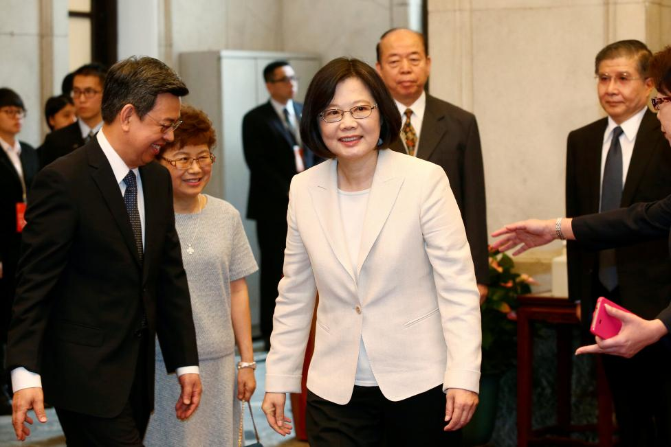 Tsai Ing-wen arrives at the Presidential Office to swear in as Taiwan's President in Taipei