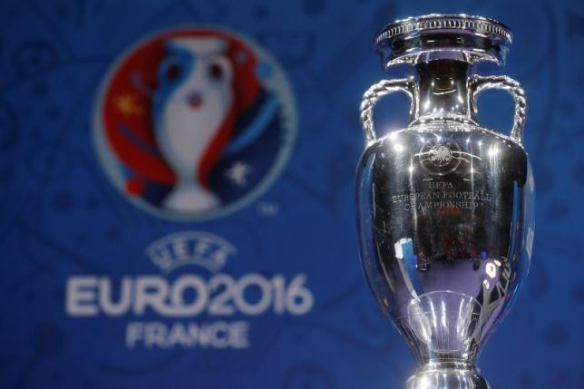The trophy of the Euro 2016 is displayed during a news conference one hundred days before the start of the competition in Paris