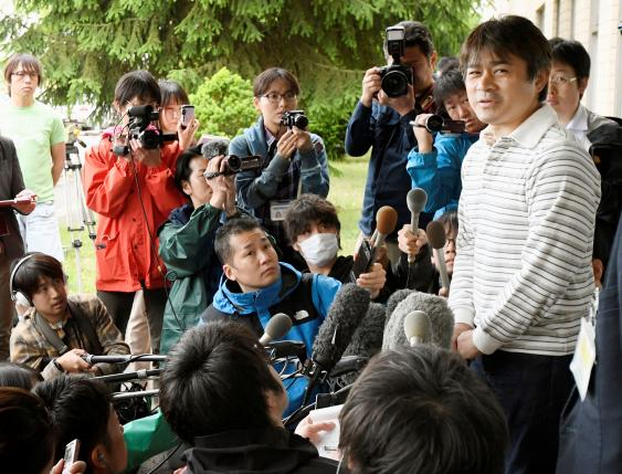 Takayuki Tanooka, father of 7-year-old boy Yamato Tanooka  who went missing on May 28, 2016 after being left behind by his parents, was found alive, speaks to the media in Hakodate