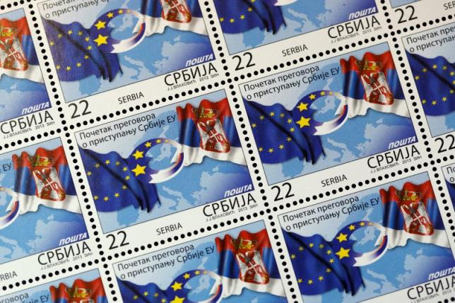 Special edition postage stamps show Serbian and EU flags in Belgrade