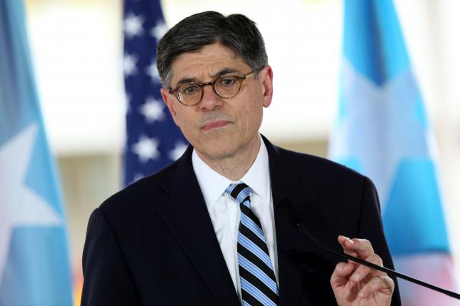 U.S. Treasury Secretary Jack Lew addresses the media during a visit at the Medical Center Hospital in San Juan