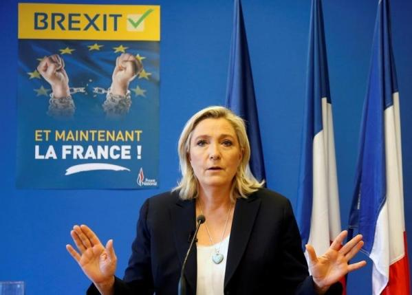 Marine Le Pen, France's far-right National Front political party leader, speaks during a news conference at the FN party headquarters in Nanterre near Paris after Britain's referendum vote to leave the European Union