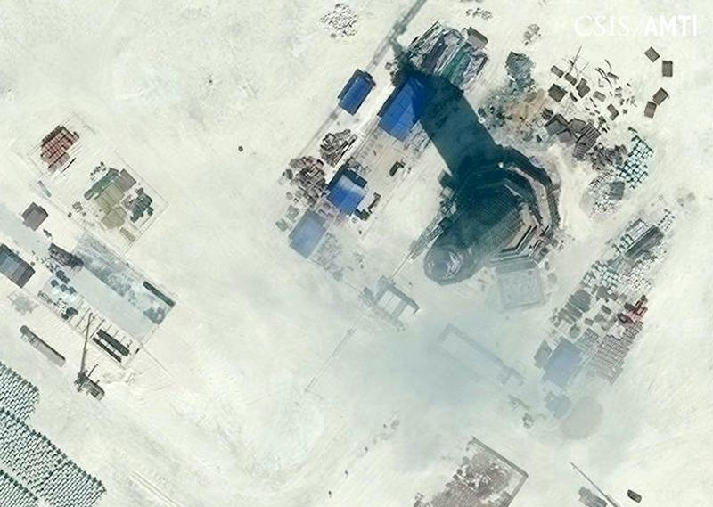 Center for Strategic and International Studies (CSIS) Asia Maritime Transparency Initiative file image of an octagonal tower with a conical feature at its top, located on the northeast side of Subi Reef