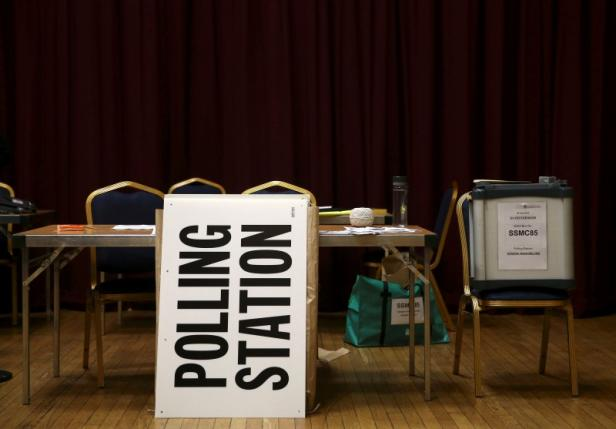 A polling station is prepared for the Referendum on the European Union in north London