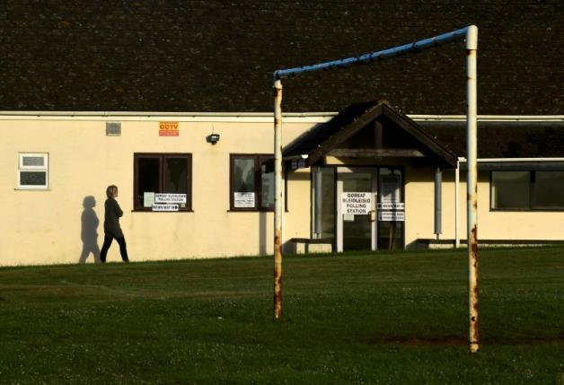 The local village hall, next to the sports field, is used as a polling station for the Referendum on the European Union in the village of St Florence, Near Tenby, Pembrokeshire in Wales