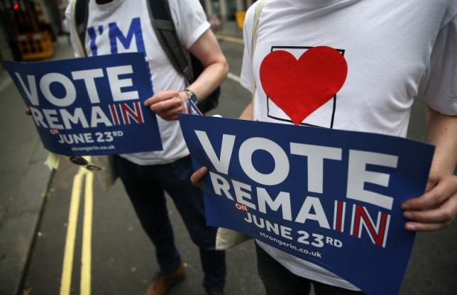 "Supporters of the ""Britain Stronger IN Europe"" group campaign in the lead up to the EU referendum, at Soho in London"