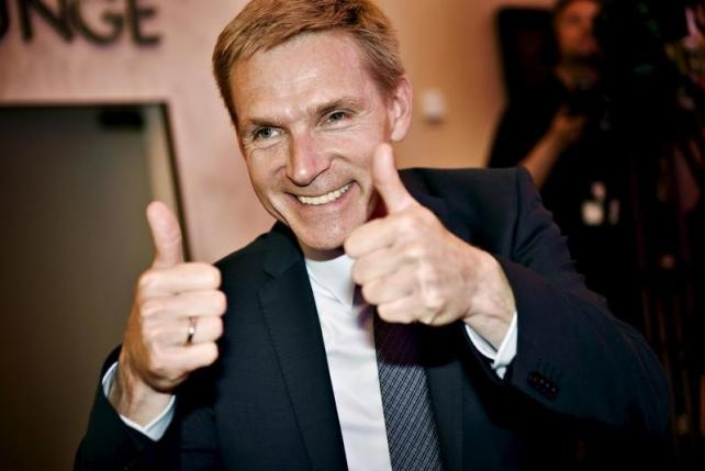 Danish People's Party (DF) leader Kristian Thulesen Dahl is pictured giving thumbs-up in Copenhagen, Denmark