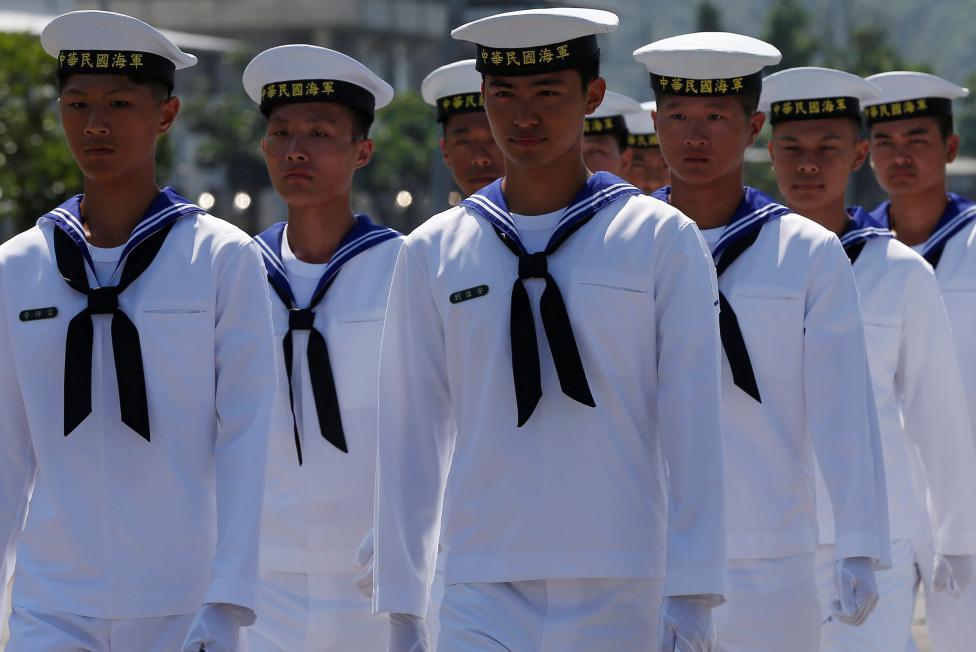 Taiwanese navy personnel walk at Suao Naval Base in Yilan, Taiwan