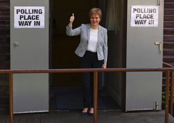 Scotland's First Minister Nicola Sturgeon leaves after voting in the EU referendum, at Broomhouse Community Hall in Glasgow