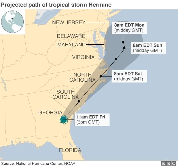 В 5-ти американских штатах введён режимЧС из-за тропического шторма «Эрмина»
